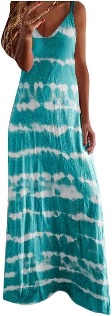 Womens Summer Dresses,Women's Summer Casual Loose Long Dress Beach Sleeveless Sexy Vintage Maxi Dresses