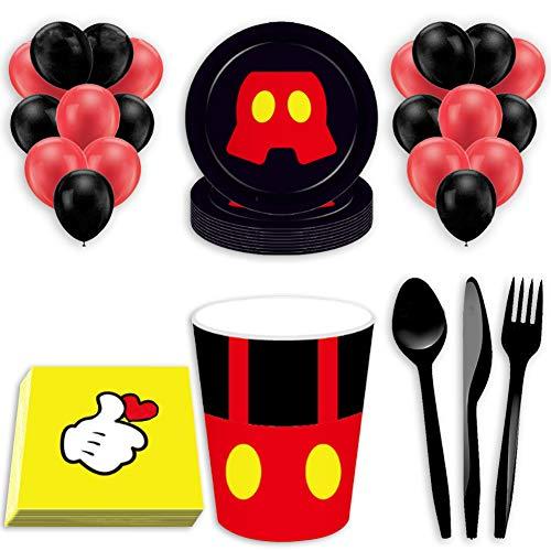 WENTS Set Festa di Compleanno di Topolino 80PCS Kit Party Festa in Tavola Mickey Mouse Club House Disney Mickey Mouse Accessori per Feste per Bambini per 8 Persone