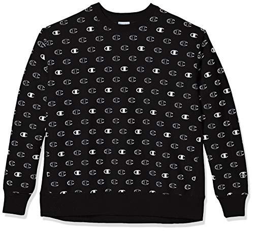 Champion Life Herren Reverse Weave Crew-Tossed C Logos Sweatshirt, C Logo Spaced Black, Klein