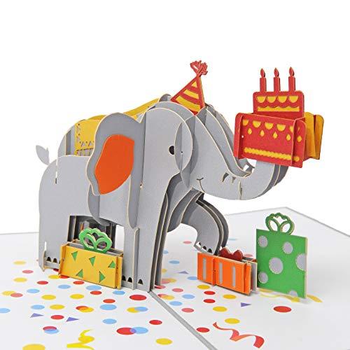 Favour Pop Up lyckokort till födelsedagen. Ett filigran konstverk som utvecklas som elefant när den öppnas med gåvor. TB132