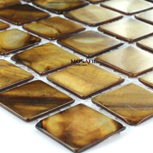 Glas Mosaik Fliesen Perlmutt Effekt Braun 25x25x2mm