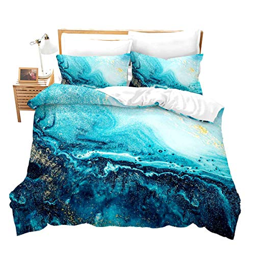 Blue Marble Comforter Cover Queen Liquid Colorful Marble Bedding Set Abstract Rainbow Quicksand Duvet Cover Girl Turquoise Blue Bed Covers Girly Watercolor Chic Marble Modern Decor Kids Gift Bed Set