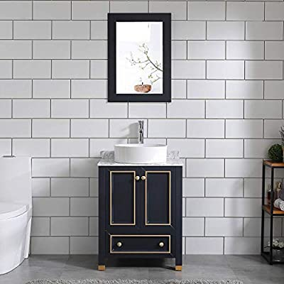 "Homecart 24"" Bathroom Vanity and Sink Combo Solid Wood Authentic Marble Top w/Vessel Sink&Mirror"