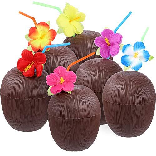 Kokosnuss-Becher, Hawaiianische Kunststoff-Kokosnuss-Becher, Cocktail-Becher, Bar Kokosnuss-Blume, biegbare Strohhalme für Strand, Pool, Luau Party (10 Stück)