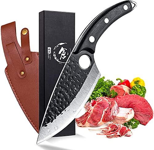 Moontay Cuchillo para deshuesar Cuchillo de chef forjado a mano Cuchillo para filetear / carnicero Cuchillo de cocina Cuchillo para exteriores para excursiones a la barbacoa con caja de regalo