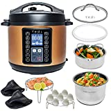 Yedi 9-in-1 Total Package Instant Programmable Pressure Cooker, 6 Quart, Deluxe Accessory kit, Recipes, Pressure Cook, Slow Cook, Rice Cooker, Yogurt Maker, Egg Cook, Saut, Steamer, Copper