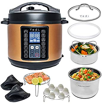 Yedi 9-in-1 Total Package Instant Programmable Pressure Cooker 6 Quart Deluxe Accessory kit Recipes Pressure Cook Slow Cook Rice Cooker Yogurt Maker Egg Cook Sauté Steamer Copper