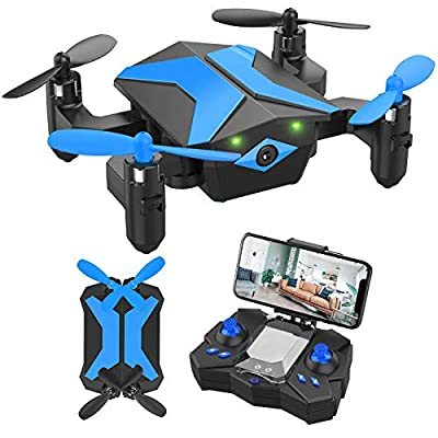 Mini Drone with Camera for KidsBeginners, Foldable Pocket RC Quadcopterwith App Gravity Voice Control Trajectory Flight, FPV Video, Altitude Hold, Headless Mode, 360°Flip, Toys Gifts for Boys Girls
