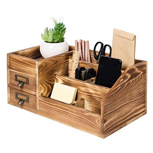 Liry Products Organizador de escritorio de madera rústica, suministros de oficina, gabinete de almacenamiento de mesa, estante escalonado, múltiples compartimentos