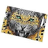 ZCHW Set di 4 tovagliette Americane Animali Selvatici leopardati tappetini da caffè Lavabili Resistenti al Calore 30 x 45 cm