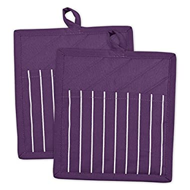 DII 100% Cotton, Machine Washable, Everyday Kitchen Basic, Chef Stripe Commercial Grade, Restaurant Quality Pot Holder Set of 2, Eggplant