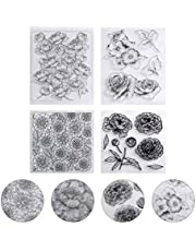 Healifty Flower Clear Stamps Seal Scrapbook Photo Album Decorative Card Making Clear Stamps 4pcs (Mixed Pattern)