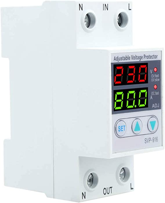 Walfront Svp 916 100 130vac Adjustable Over And Under Voltage Protector Delay Reset Protector Overvoltage Protection Action 40a Electronics Amazon Com