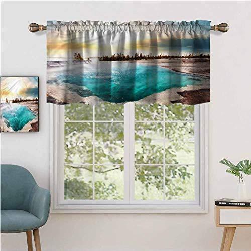 Hiiiman - Juego de 2 cortinas opacas para cortina de bolsillo con barra corta, 137 x 91 cm, para cocina y baño