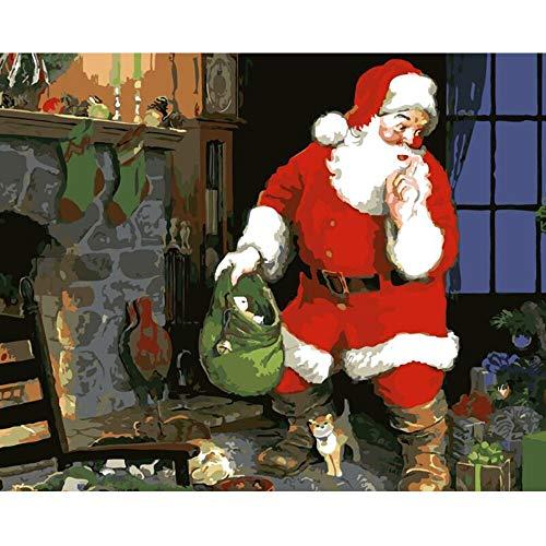 baodanla Geen frame Kerstmis Door Nummers Op Canvas Ingelijste Muurfoto's Art Voor Woonkamer Huisdecoratie