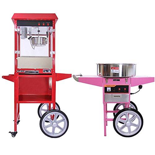 KUKOO - Macchina per Fare i Popcorn & Macchina per Fare Lo Zucchero Filato con Carrelli