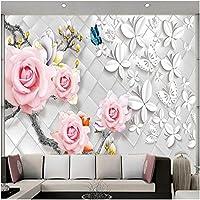 Xbwy 装飾壁画バラの花蝶壁画壁紙リビングルームテレビソファ背景壁の装飾壁画-200X140Cm