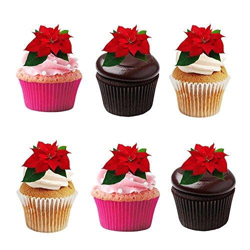 24 rote, Winter, Weihnachtssterne, Blume, essbar, Waffelpapier, Kuchendeko, Dekorationen.