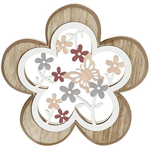 dekojohnson Deko-Blume 3D Holzblume mit Blumendekor Standdeko Fensterbankdeko zum Stellen Natur bunt 17x2x17cm Osterdeko Zimmerdeko