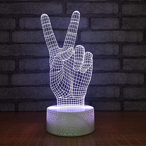 Gesto De Victoria Luz De Noche 3D Decoración Led Lámpara De Mesa Personalizada Regalo De Cumpleaños Creativo Luz De Noche Para Dormitorio Junto A La Cama