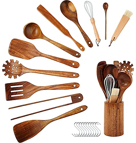 InnoStrive Wooden Spoons For Cooking 12 Pack Nature Teak Nonstick Wooden Utensils For Kitchen, Wooden Spoons And Spatula With Holder