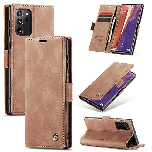 KONEE Hülle Kompatibel mit Samsung Galaxy Note 20 Ultra, Lederhülle PU Leder Flip Tasche Klappbar Handyhülle mit [Kartenfächer] [Ständer Funktion], Cover Schutzhülle für Galaxy Note20 Ultra - Braun