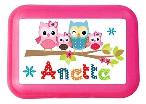 wolga-kreativ Brotdose Kinder Kindergarten mit Namen Eule mit Trennwand Mädchen oder Junge Lunchbox Butter-brotdosen Brotzeit-dose Lunchbox mit Fächer Brotbox Brotzeitbox Vesperdose Kinder