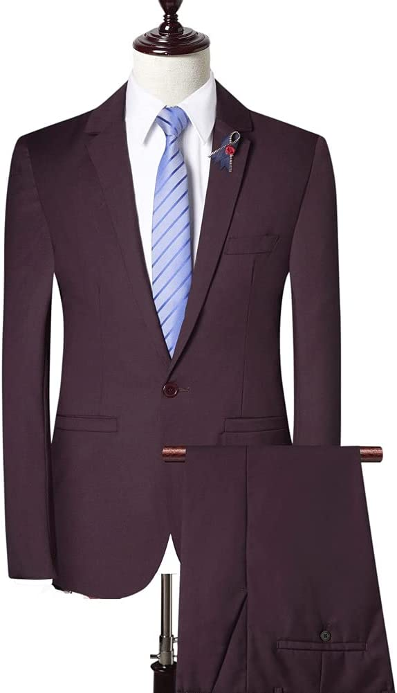 ZZABC (Jacket + Pants + Vest Men Suit Pant Suit Solid Color Men's Suit Jacket Slim Shape (Color : Purple, Size : 2XL 68-73kg)