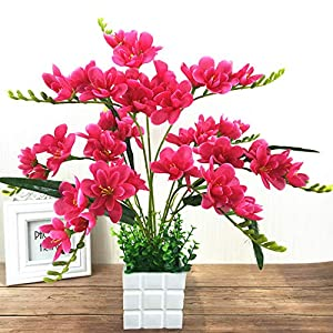 Adoolla Artificial Freesia Flower with 9 Branches for Home Living Room Decor Rose red