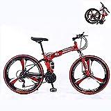 Bicicleta de montaña plegable de 24 velocidades, para adultos, marco de acero al carbono, suspensión completa, doble disco, color rojo y negro