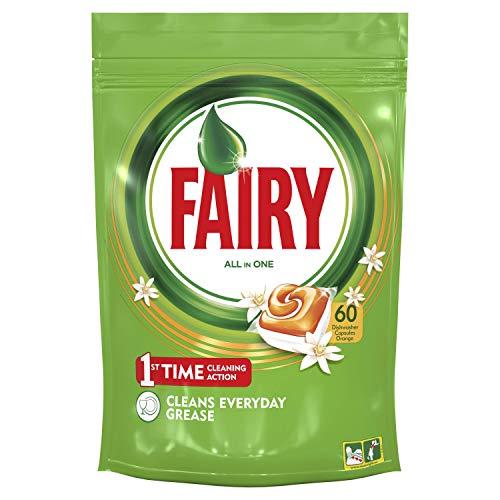 Fairy Todo En 1 Cápsulas de Lavavajillas Naranja, Pack de 60 unidades