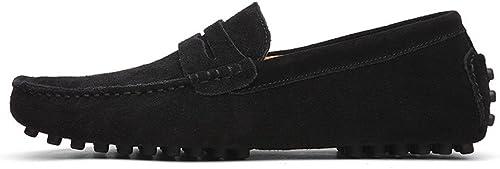 CHENDX Hauszapatos, Mocasines de Penny de conducción Casual para Hombre de Gamuza Mocasines de Cuero Genuino Zapaños sin Cordones para Botes (Color   negro, Tamaño   44 EU)