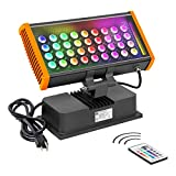 LED Wall Washer Light, 108W RGBW Color Changing with RF Remote Controller, LED Spot Light for Outdoor/Indoor Lighting Projects, Building Decoration, Advertising Lighting