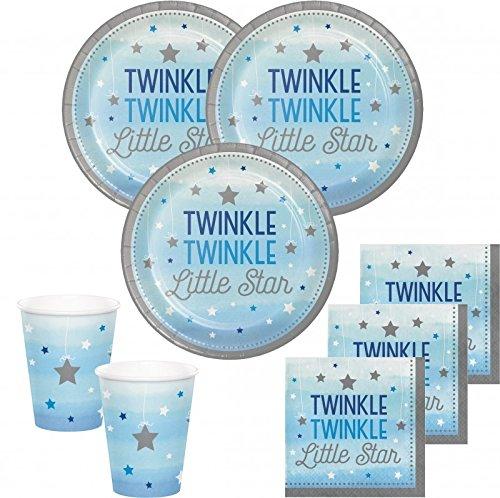 48 Teile Blinke Kleiner Stern Blau Party Deko Set 16 Personen für die Baby Shower oder Kindergeburtstag