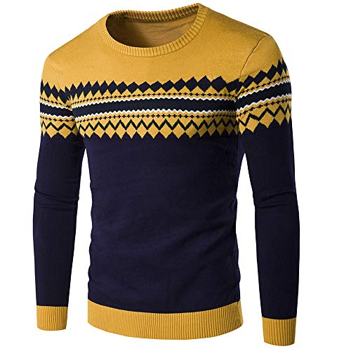 Men Sweater Comfortable Fashion Hit Color Crew Neck Long Sleeve Spring and Autumn Vacation Leisure Boutique New Men Top Men Sweater J-Yellow M