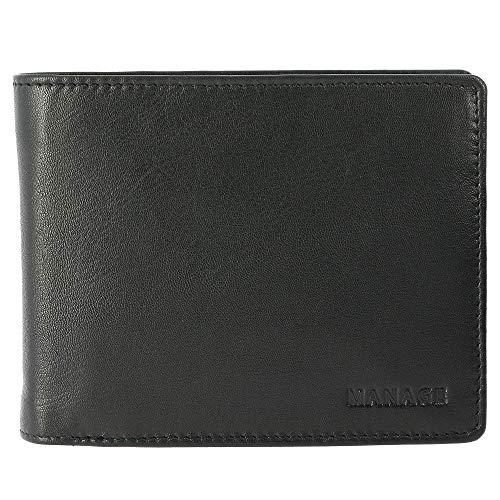 Manage Herren Geldbörse Scheintasche mit Riegel zur Kartensicherung und RV-Fach im Steg 61301 Leder B12 x H10 cm x T2 cm, Farbe:schwarz