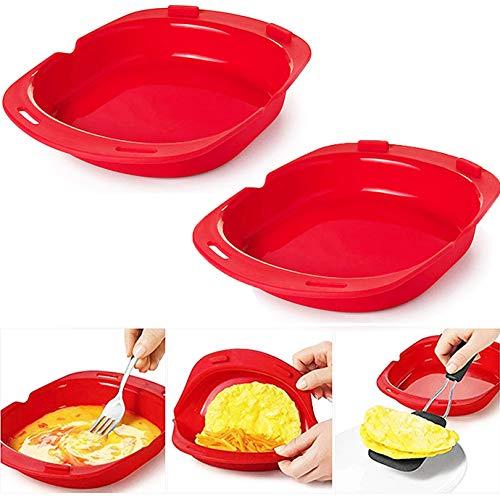 Recipiente Tortilla microondas silicona, utensilio de tortilla antiadherente plegable, juego de desayuno rápido y fácil, no se necesita aceite ni mantequilla para hacer rollos de huevo, 2 piezas