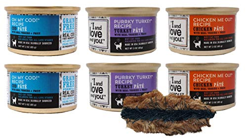 Price comparison product image I and love and you Grain Free Cat Food 3 Flavor 6 Can Bundle with Toy,  (2) Each: Oh My Cod,  Purrky Turkey,  Chicken Me Out (3 Ounces)