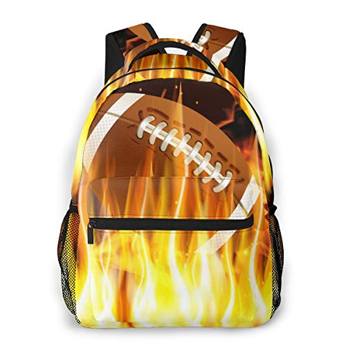 Unisex Daypack American Football In Fire 3d All-Over Print Lightweight Bookbag For Kid