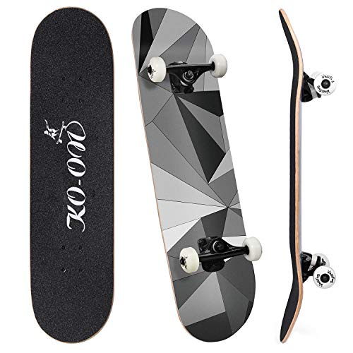KO-ON Complete Skateboards for Beginners and Kids 31 inches x 7.88 inches, Standard 7-ply Layers Canadian Maple Wood with Double Kicktails and Radial Concave for Tricks (Black Diamond)