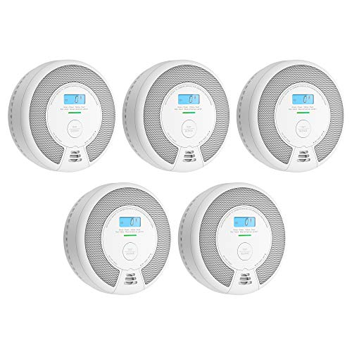 X-Sense 10-Year Battery (Not Hardwired) Combination Smoke & Carbon Monoxide Alarm with LCD Display, Compliant with UL 217 & UL 2034 Standards, SC07, Pack of 5