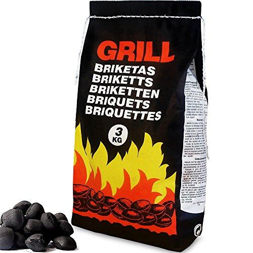 Deuba Carbonella per Barbecue 27kg Bricchetti Carbone BBQ Bricchette Grigliata 9 Sacchetti da 3 kg