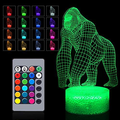 3D Gorilla Lamp, 16 Colors Changing Lamp Remote...