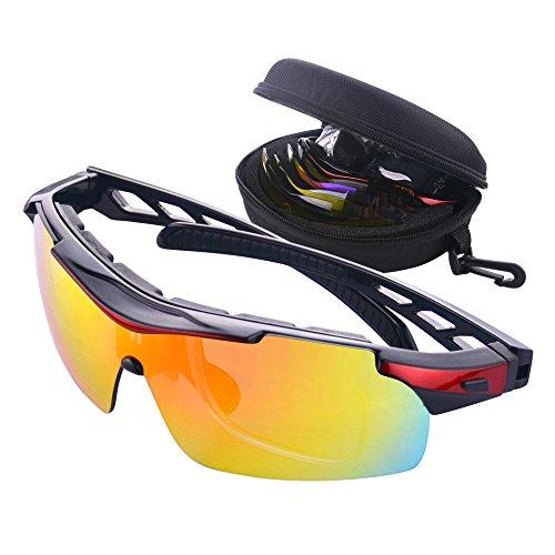 MATT SAGA Polarisierte Sport Sonnenbrille Unisex Radbrille UV-Schutz Fahrradbrille mit 5 Wechselgläser Sportbrille für Radfahren Fahren Golf Baseball Volleyball Fischen Klettern (Rot)