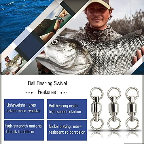 AMYSPORTS Ball Bearing Fishing Swivels Stainless High Strength Bearing Swivels Fishing Barrel Ball Fishing Swivel Freshwater Saltwater Connector Accessories 24pcs 53lbs