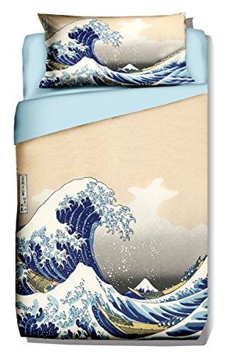 copripiumino singolo 240x155 Deco Italia Set Copripiumino copriletto La Grande Onda di Kanagawa Hokusai 100% Cotone   Singolo 155 x 240 cm + Federa 50 x 80 cm