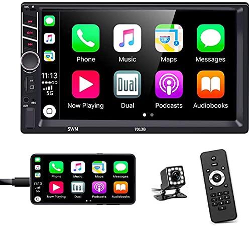 Doble DIN Radio de Coche Bluetooth con Pantalla Táctil de 7''Compatible,Manos Libres,D-Play,Cámara de Visión Trasera de 12 LED,SWC,Reproductor MP5 con FM/USB/AUX/TF/RCA/Control Remoto