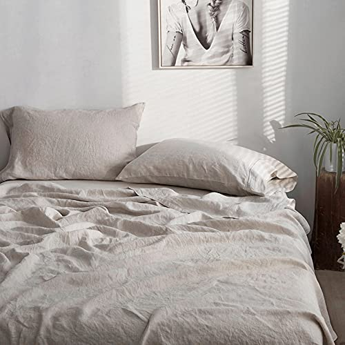 Simple&Opulence 100% Linen Sheet Set with Embroidery Washed - 4 Pieces (1 Flat Sheet & 1 Fitted Sheet & 2 Pillowcases) Natural Flax Soft Bedding Breathable Farmhouse - Linen, Queen Size