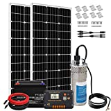 ECO-WORTHY Complete 200W 12V Solar Water Pump System, Large Flow 3.2GPM, 2pcs 100 Watts Solar Panel + 50Ah Battery + Submersible Well Pump + 20A Controller + 16ft Cables for Irrigation Garden Camping