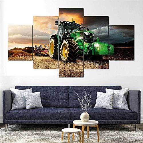 SSWD Leinwandbilder Bilder auf Leinwand John Deere Traktor Rasenmäher Farming Canvas Gerahmt 5 Stück Wandkunst Poster Dekor